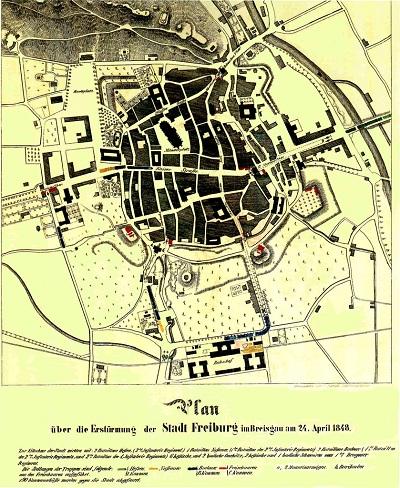 Plan zur Erstürmung der Stadt Freiburg am 24.4.1848