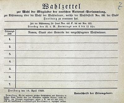 Wahlzettel für die Freiburger Wahlen zur Nationalversammlung