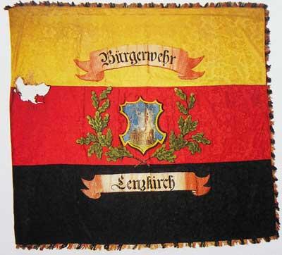 Die Lenzkircher Bürgerwehr besaß wie viele andere eine schwarz-rot-goldene Fahne als Zeichen der Revolution.