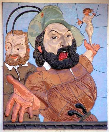 Friedrich Hecker bei seiner Rede auf dem Konstanzer Stephansplatz - Majolikarelieftafel von Johannes Grützke am ehemaligen Stadthaus, Konstanz, Stephansplatz