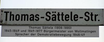 Straßenschild in Konstanz-Wollmatingen mit Erklärung