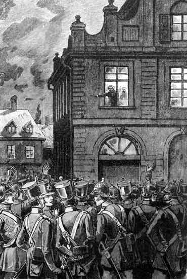 Amand Goegg verkündet vom Rathaus aus die Beschlüsse der Offenburger Versammlung.