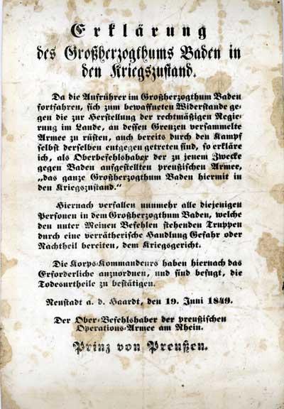 In Baden wird das Kriegsrecht verhängt