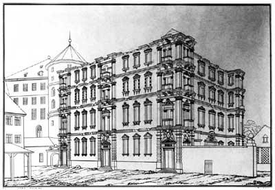 Der Neue Bau in Stuttgart. Zeichnung nach einer Lithographie von 1820