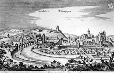 Die württembergische Residenzstadt Mömpelgard (Montbéliard), Kupferstich von Matthäus Merian (17. Jh.)