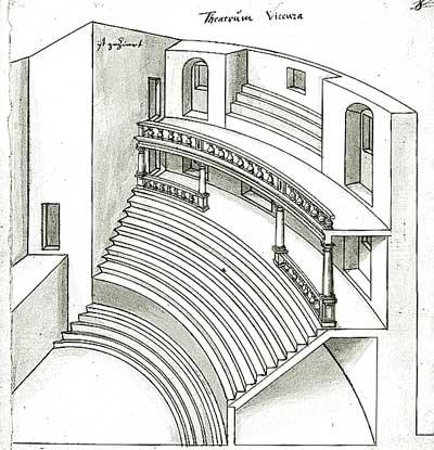 Theatro Olympico in Vicenza, Zeichnung Schickhardts