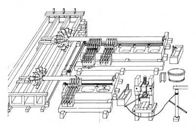 Technische Darstellung eines Lumpenstampfwerks