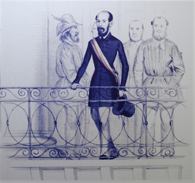 Lorenz Brentano auf dem Balkon des Karlsruher Rathauses