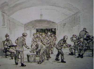 Essensausgabe unter Bewachung, Zeichnung von Mieczyslaw Wisniewski in der Gedenkstätte