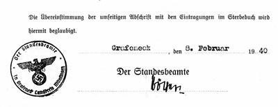 Standesamtliche Beglaubigung der Abschrift einer Eintragung im Sterbebuch (08.02.1940)
