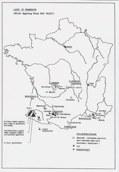 : Lager Gurs in Frankreich (die Zahlen der Opfer beziehen sich auf die Stadt Pforzheim)
