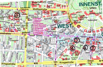 Ausschnitt aus dem Stadtplan von Karlsruhe
