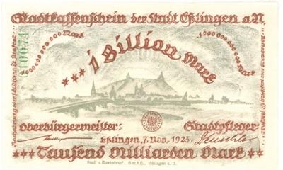 Inflationsgeld der Stadt Esslingen