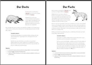 Arbeitsblätter Tiere