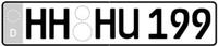 Beispiel für ein KFZ-Kennzeichen in Deutschland; schematische Darstellung ohneStempel und Plakette; entnommen: Verordnung über die Zulassung von Fahrzeugen zumStraßenverkehr (Fahrzeug-Zulassungsverordnung - FZV), Anlage 4, Abschnitt 2, Nr. 1; Bildwurde bearbeitet, genau genommen beschnitten (hier nämlich ohne Bemaßungsangaben)