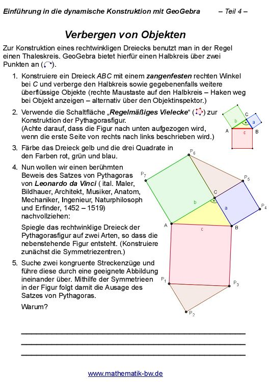 Anleitungen zu GeoGebra — Landesbildungsserver Baden-Württemberg
