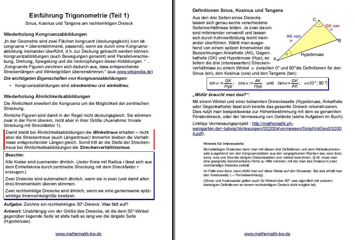 Seitenbeziehungen am rechtwinkligen Dreieck — Landesbildungsserver ...