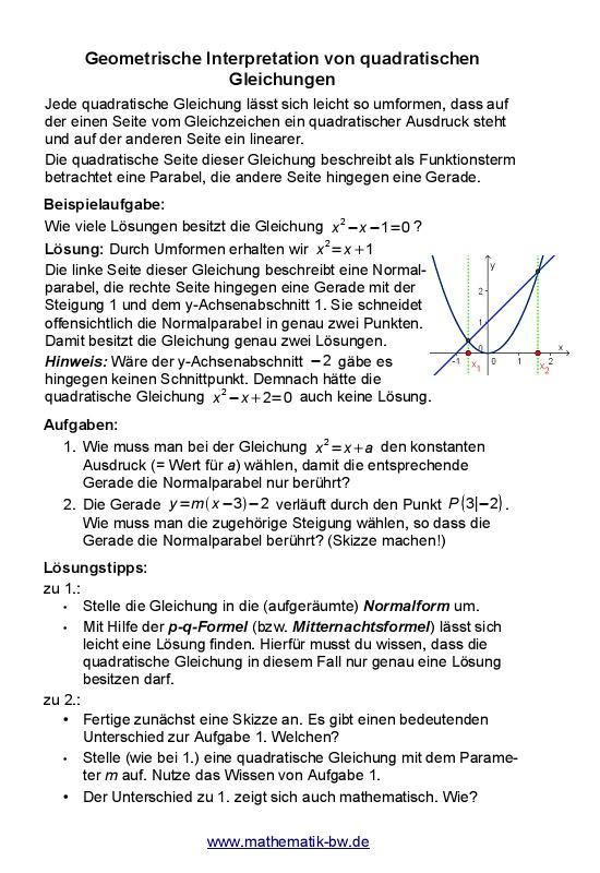 Geometrische Interpretation von quadratischen Gleichungen ...