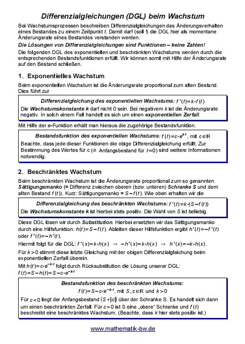 Differentialrechnung — Landesbildungsserver Baden-Württemberg