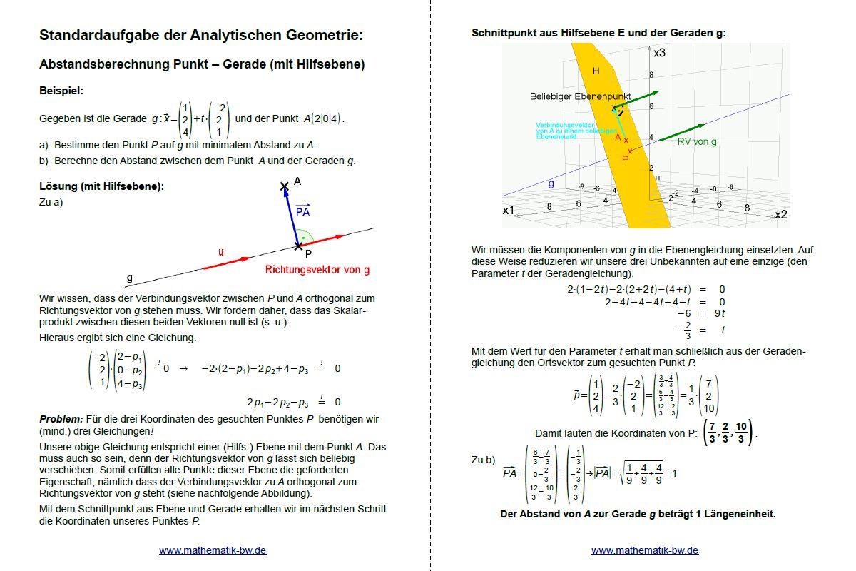 Abstand Punkt-Gerade (im Raum) — Landesbildungsserver Baden-Württemberg