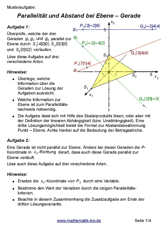 Parallelität Ebene - Gerade — Landesbildungsserver Baden-Württemberg