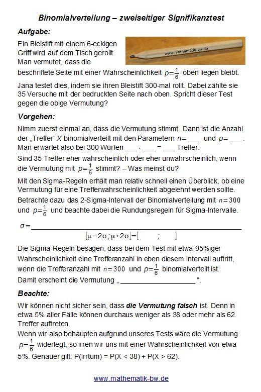 Testen von Hypothesen — Landesbildungsserver Baden-Württemberg