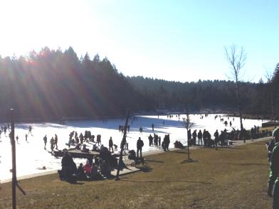 Eislaufen auf einem Waldsee (Lindenberg / Allgäu)