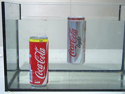 Die Cola-Light Dose schwimmt
