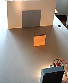 Schattenbild einer punktförmigen Lampe