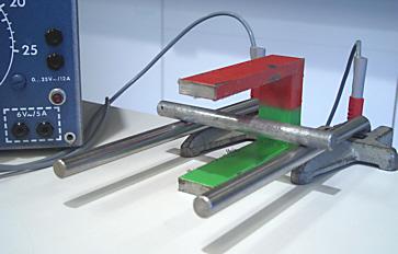 Die Alustange rollt in den Magneten oder aus ihm heraus