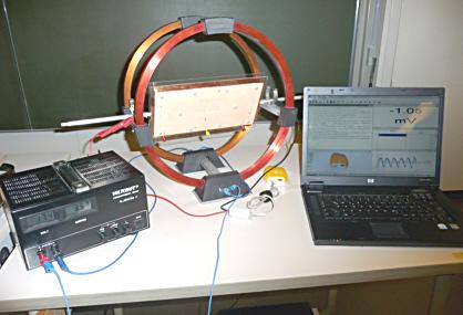 Versuchsaufbau mit Helmholtzspule, Sensor und EuroLab
