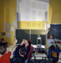 Flashcardspiel am Overhead-Projektor