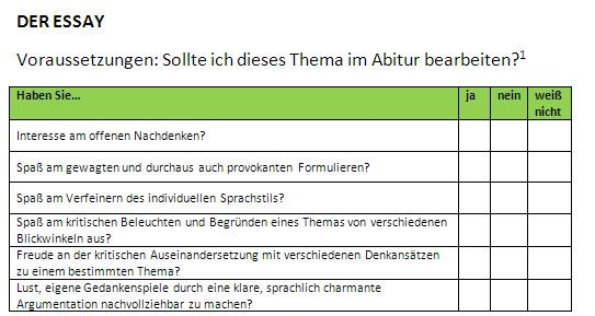 Arbeitsblatt: Der Essay (Abiturvorbereitung, Abitur 2019 ...