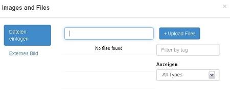 Ein Screenshot des Menüs, das das Hochladen einer Datei erlaubt