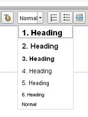 Ein Screenshot des Ausklapp-Menüs für die Formatierung von Überschriften