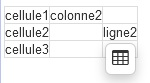 Ein Screenshot einer Tabelle mit Tabellen-Symbol