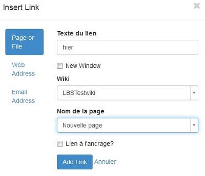 Ein Screenshot des Menüs, das das Einfügen eines Links erlaubt