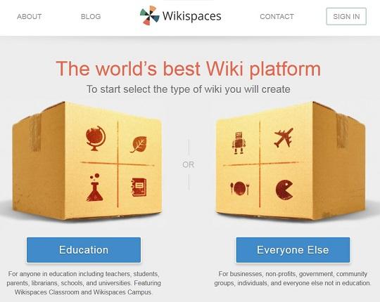Ein Screenshot der Wikispaces-Starteite