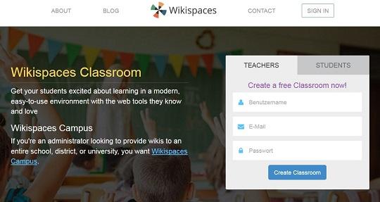 Ein Screenshot der Wikispaces-Anmeldungsseite