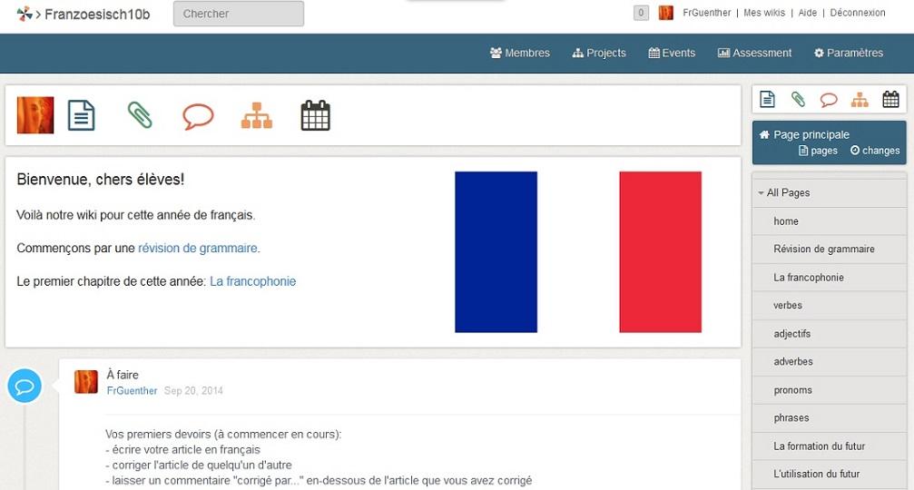 Screenshot der Startseite eines Wikis aus dem Französisch-Unterricht