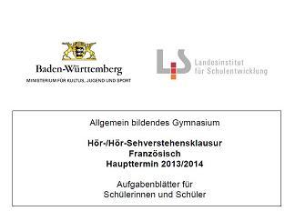 Deckblatt der zentralen Hörverstehensklausur 2013/14