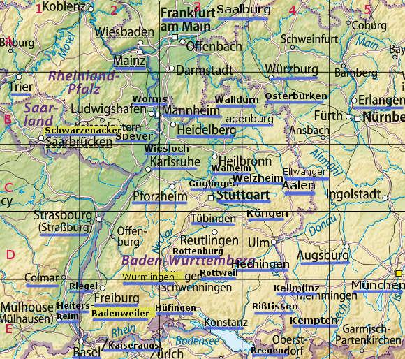 Karte mit den Exkursionszielen