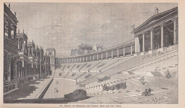 Das Theater des Pompeius in Rom, Stich von Adolf Schill
