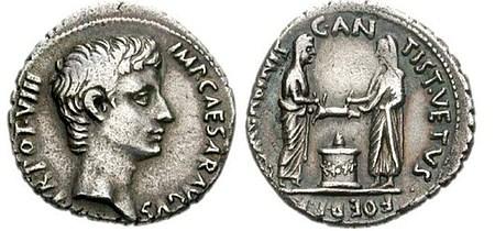 Münze: Schweineopfer, Augustus