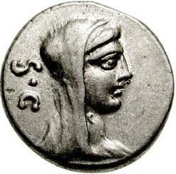 Römischer Denarius, Vorderseite; Bild: Vesta