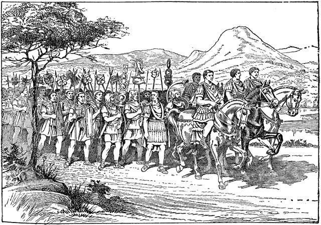 Römischer Heereszug auf dem Marsch