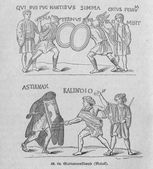 Gladiatoren - römisches Mosaik