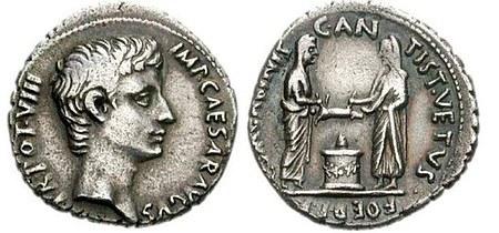 Römische Münze: Schweineopfer; Augustus