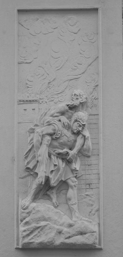 Aeneas trägt Anchises aus dem brennenden Troia