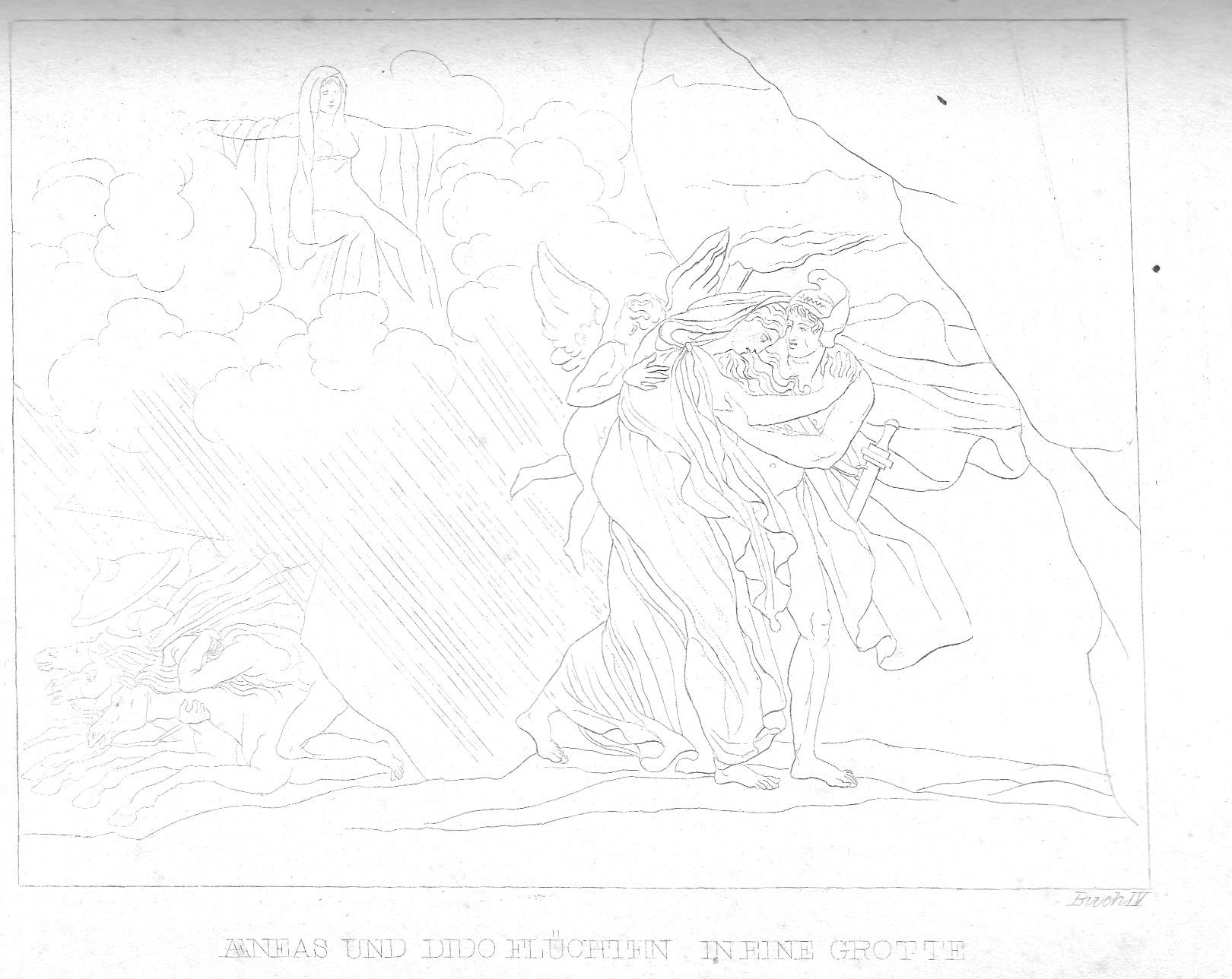 Aeneas und Dido gehen in die Grotte (großes Bild)